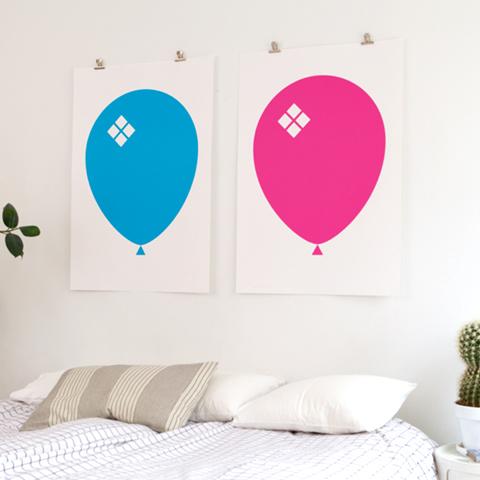 Blue & Pink Ballong Poster