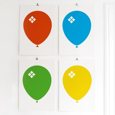 Red, Blue, Green & Yellow Ballong Poster