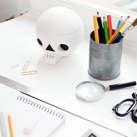 Skull on a desk
